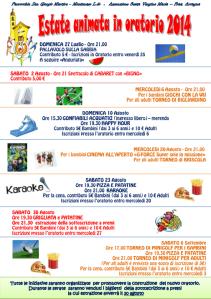 Locandina Estate animata in Oratorio 2014