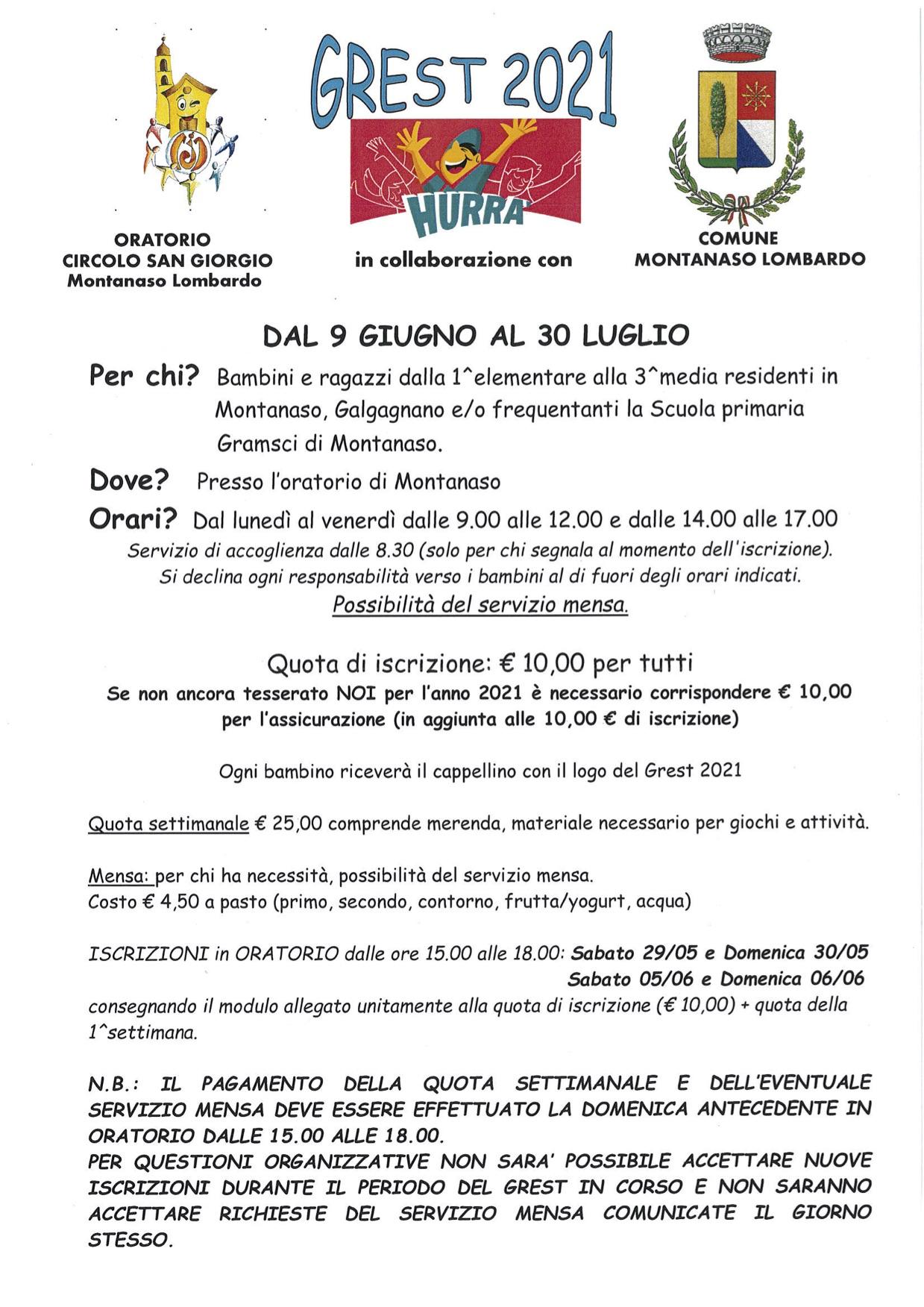 Locandina Grest 2021